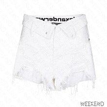 【WEEKEND】 ALEXANDER WANG 後腰文字 反摺 破壞 牛仔 短褲 熱褲 白色