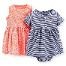 【Carters】卡特 特價促銷 套裝 深藍條紋洋裝+粉橘色小花洋裝+內褲 三件組 女寶寶 -USA美國精品時尚小舖