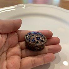 印度琺瑯嶄刻粉色橢圓形小銀罐