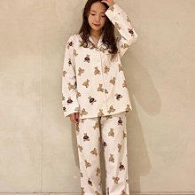 G413滿版泰迪熊棉質 長袖襯衫+長褲 居家服 情侶套裝 休閒服 睡衣 gelato pique 女款