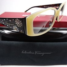 【信義計劃】全新真品 Salvatore Ferragamo 費洛加蒙 眼鏡 彈簧水鑽膠框 搭配項鍊裙子【信義計劃】全