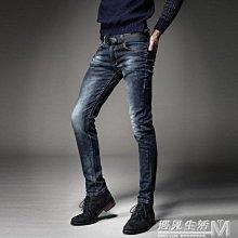男裝復古破洞牛仔褲男士秋冬款韓版修身做舊彈力小腳褲    全館免運