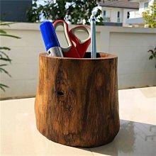 【AMAS】- 泰國東南亞天然原木筆筒辦公桌面文具創意收納盒擺件實木復古
