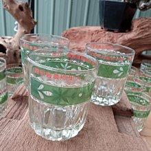 *阿柱的店*老玻璃杯 台玻 大里鄉農會 綠色彩繪 庫存品