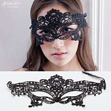 眼罩 神秘媚惑蕾絲面罩 驚喜變裝派對 黑色縷空貓裝貓女性感配件-愛衣朵拉D062