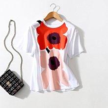 春夏新款 亮麗配色兩朵撞色太陽花小寬鬆圓領短袖T恤上衣 [Classique*真經典] 040202