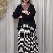 QQBOW正韓黑色風衣短外套+黑白條紋長裙kimy套裝ehloe衣洞