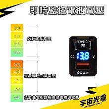 豐田 PD TYPE-C+QC3.0 預留孔 23*33MM 極速 LED(電壓顯示) USB 充電器 汽車 雙孔 車充