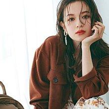 轉賣近全新31 Sons de mode 2 WAY仿羊毛織紋翻領綁帶上衣襯衫式CPO夾克外套(附綁帶)(咖色)