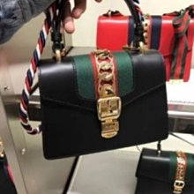 里昂二手正品  GUCCI Sylvie Leather Mini Bag NANO 黑色 470270 現貨