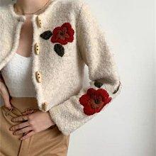 【2A Two】💐精美刺繡紅花朵⌒綠葉 羊毛針織外套『BB00421』短版針織外套