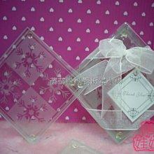 蓓蓓結婚禮品屋~歐美婚禮小物系列~透明雪花玻璃杯墊~1組(2入)~送客禮/婚禮小物/佈置~^0^