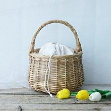 鄉村雜貨小市集*zakka 藤柳編織圓型手提籃野餐籃水果蔬菜籃收納籃 附內襯布束口袋