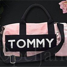 Tommy Hilfiger Bag 拉鍊 小款 粉紅色 休閒運動包 手提包 斜背包 兩用包旅行包+送小禮物