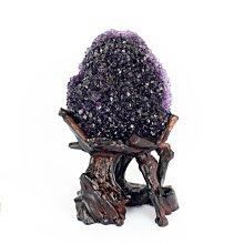 幫助讀書-紫水晶花(根雕底座)  重:578g【吉祥水晶專賣店】編號AJ60