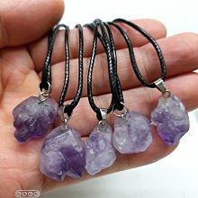 柒零陸晶品//天然骨幹紫水晶花原礦墜皮繩項鍊一標5條(1651)批發直購放漏價