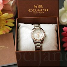 市價14500元 Coach Watch 28mm 14502467不銹鋼防水銀色/玫瑰金色鑲水晶女錶石英手錶鍊錶禮盒裝