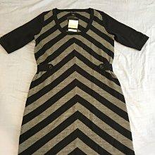 全新專櫃真品吊牌未拆~CLUB MONACO黑灰色羊毛五分袖連身洋裝(有腰身)SIZE:M(台北市/新店區可面交)