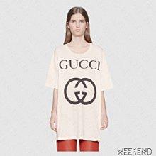 【WEEKEND】 GUCCI Logo Oversize 寬鬆 加長版 短袖 T恤 白色  539081 現貨 XS