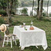 MOK 北歐風雅致浪漫唯美精緻蕾絲繡花桌布桌巾 野餐桌布 背景布 拍攝道具 260*147