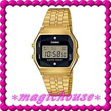 ?夢幻精品屋?CASIO~復古方形 經典電子錶 錶面鑲天然鑽石 A159WGED-1