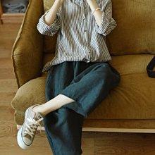 妙貓精選 天然純亞麻 懷舊條紋 小翻領長袖襯衫 (現貨款超特價)