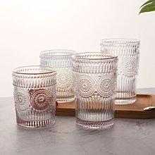 熱銷-熱賣太陽花玻璃杯歐式復古浮雕描金水杯冷水壺耐熱早餐果汁杯