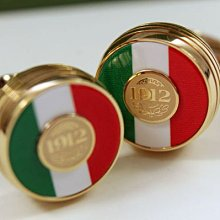 Montegrappa 萬特佳 Tricolore Cufflinks 義大利國旗 金色袖扣 IP-YELLOW GOL