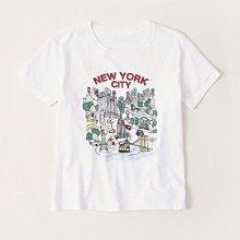Maple麋鹿小舖 Abercrombie&Fitch * AF 白色印花城市圖樣短T* ( 現貨M號 )
