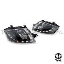 《※台灣之光※》全新AUDI TT 06 05 99 00 01 02年LED光條投射魚眼黑底R8樣式大燈頭燈組馬達版