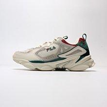 =E.P=FILA Skipper 老爹鞋 復古 運動休閒 厚底 韓版 米白綠紅 男女 4-J528T-736