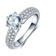 特價出清鑽戒3克拉 求婚 結婚高仿真鑽石手飾 歐美豪華高檔微鑲純銀戒指   FOREVER鑽寶