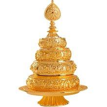 阿里家 尼泊爾工藝密宗法器曼扎盤純銅合金供曼茶羅藏傳佛教用品寶石大號