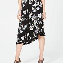 全新有牌美國品牌INC 大尺碼黑底印花不對稱造型裙襬長裙16號