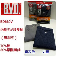 【晉新】B.V.D_貨號BD660V_棉絨V領長袖衫_男性內衣_原價420元_尺寸M、L、LL