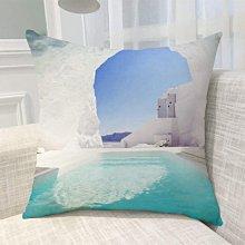 《獨家預購》歐洲風景抱枕定制 聖托里尼島超柔舒適抱枕靠墊 來圖客製化家用聖托里尼島 可來圖訂做 生日禮物bz1828
