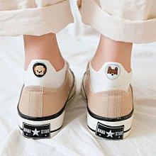 [現貨]隱形襪 襪子 船型襪 短襪 左右不對稱狗狗圓形刺繡 純棉襪 透氣 吸汗 M1045 OT SHOP