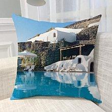 《獨家預購》歐洲風景抱枕定制 聖托里尼島超柔舒適抱枕靠墊 來圖客製化家用聖托里尼島 可來圖訂做 生日禮物bz1817