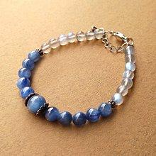 ☆采鑫天然寶石☆  **繁星**頂級天然藍晶石 搭配清透亮藍 拉長石圓珠手鍊~極美