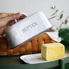 鄉村雜貨小市集*zakka 日雜款復古英文印字 BUTTER 琺瑯奶油盒小點心餅乾罩(特價)