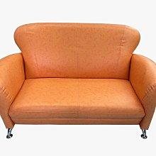 【宏品二手家具館】全新中古傢俱 EA242-3BD*全新小丸子橘色雙人皮沙發*全新庫存中古家具買賣專業 沙發 茶几