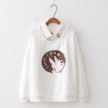 【40508】圓領  日系森女系兔子印花假兩件長袖上衣☆*藍荳荳小舖*☆(現貨)