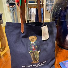 Polo bear bag Ralph Lauren by Polo 刺繡深藍布袋皮革手把 購物袋 托特袋 手提袋 全新正品 現貨在台 機場免稅通路賣3400