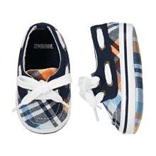 Ginny媽咪【Gymboree】全新正品男嬰格紋帆布鞋/軟底嬰兒鞋 US4/13cm現貨