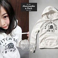 A&F Abercrombie&Fitch Embroidered Logo Graphic Hoodie獅子連帽T白色