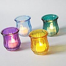 熱銷#歐式彩色花朵玻璃燭臺浪漫燭光晚餐酒吧聚會表白裝飾道具送蠟燭#燭臺#裝飾