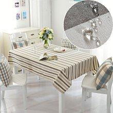 防水桌布布藝棉麻防燙條紋小正方形家用餐桌布茶幾長方形現代簡約 好再來O
