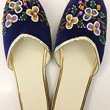 台灣製造手工鏽花拖鞋   絨布面高雅貴氣