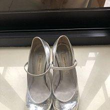 Marc Jacobs 銀色爆裂紋 緞面拼色高跟鞋娃娃鞋38