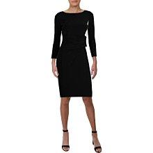 全新有牌美國知名品牌Lauren Ralph Lauren 黑色左邊滾白邊腰部皺褶長袖及膝洋裝 16號